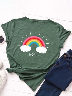 Cartoon Rainbow Print O neck Short Sleeve T shirt For Women P1799624, White / US 6