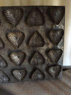 RARE Early Tin Folky Heart Tart Mold Antique Tray 19TH Century Love Token AAFA