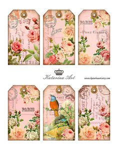 Shabby ROSES Tags. Digital Collage Sheet. Printable Gift Tags, Hang Tags. Shabby chic vintage images k23004