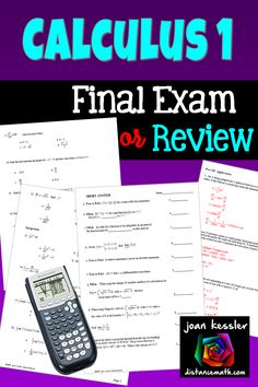 Classroom tested Final Exam to Assess your students with Limits, Derivatives, Applications of Derivatives, and Integration. Calculus 2, End Of Year Activities, College Board, Secondary Math, Final Exams, Math Teacher, Math Resources, Assessment, Finals