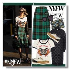 """NYFW-Street Style-Day 2"" by mackenziefoxy7 ❤ liked on Polyvore featuring Bomedo, Gucci, STELLA McCARTNEY, Santoni, Karen Walker, StreetStyle, NYFW, gucci and woolskirt"
