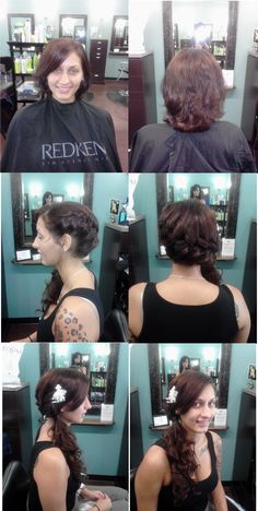 The top 2 pics before her Bridal Updo with added extensions...a wrap around braid ending with curls over one shoulder.