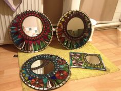 My first glass mirror mosaics made for friends and family.