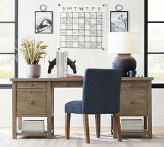 Francisco Draft Desk, Office Desk | Pottery Barn Large Drawers, Desk With Drawers, Upholstered Desk Chair, Farmhouse Desk, Farmhouse Pottery, Farmhouse Interior, Country Farmhouse, Modern Farmhouse, File Cabinet Desk