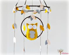 Woodland Owl baby mobile  nursery decor  Mustard by LullabyMobiles