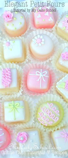 How to Make Elegant Petit Fours! A cake decorating tutorial by MyCakeSchool.com {member section}. Online Cake Decorating Tutorials & Recipes!
