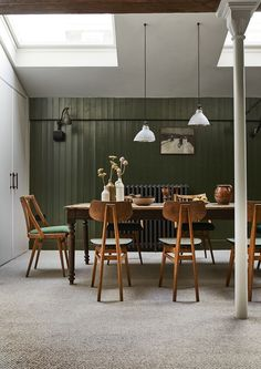 A Vintage Schoolhouse Inspired Dining Room and How to Get The Look Dorset House, Cosy Home Decor, Dining Chairs, Dining Table, Dining Rooms, Industrial Style Lighting, Plush Carpet, Shaker Kitchen, Parquet Flooring