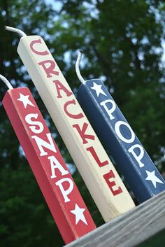 Snap, Crackle & Pop signs in red white and blue