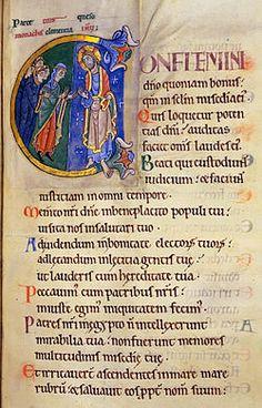 Initial C for Psalm 105, showing a woman interceding with Christ  http://inpress.lib.uiowa.edu/feminae/DetailsPage.aspx?Feminae_ID=33815