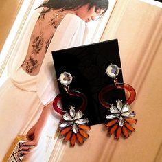"""Floral Loop Earrings Stunning Floral Loop Earrings  Size: 1.18"""" x 2.56""""  Materials: Gold Base Metals, Rhinestones, Resin  Nickel Free, Lead Free  Condition: New Jewelry Earrings"""