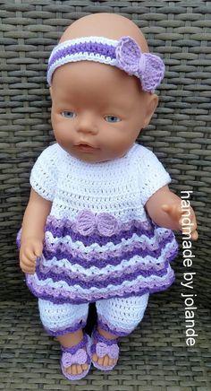 Baby Born handmade by Jolande.: Baby Born handmade by Jolande. Doll Clothes Barbie, Crochet Doll Clothes, Crochet Dolls, Crochet Baby Dress Free Pattern, Baby Knitting Patterns, Baby Alive Dolls, Baby Dolls, Baby Born Kleidung, Baby Born Clothes