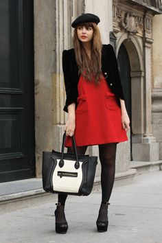 a48d528598a Red and Black French Passion Fashion! The dress is from Romwe