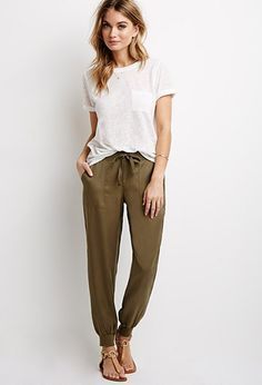 ladies sports luxe silk trousers cuffed olive green - Google Search