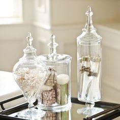 Glass Apothecary Jar - traditional - bath and spa accessories - Ballard Designs Spa Like Bathroom, Small Bathroom, Bathroom Ideas, Bathroom Organization, Organized Bathroom, Bathroom Interior, Master Bathroom, Bathroom Staging, Spa Inspired Bathroom