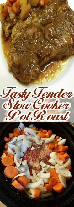 Slow cooking gives you a roast that is so tender that it literally melts in your… #slowcooker #potroast #crockpot