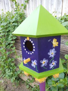 Tweet Purple Flowers & Butterflies Birdhouse by Lindagodi on Etsy, $45.00
