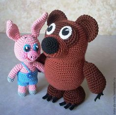 Винни и Пятачок Dog Boarding, Crochet Animals, Pet Toys, Hello Kitty, Dinosaur Stuffed Animal, Elephant, Amigurumi, Crocheted Animals, Dog Daycare