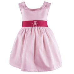 Light Pink Pique Dress with Hot Pink Sash