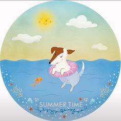Summer time!! #valeriafrustaciillustration #summertime #dog #olivia #sea #beach #fish #illustration #publishing #kidart #kidbook