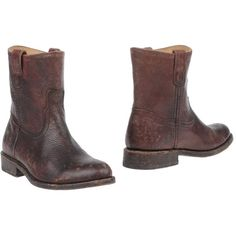 Frye Ankle Boots ($210) ❤ liked on Polyvore featuring shoes, boots, ankle booties, deep purple, leather boots, bootie boots, genuine leather boots, round toe ankle boots and leather booties