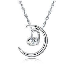 Silver Tone Moon Necklace