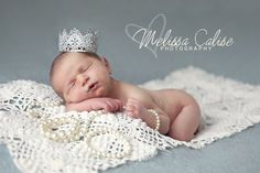 Melissa Calise Photography (Newborn Girl Princess Pearls Layering Necklace Crown Photo Shoot Ideas)