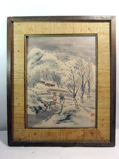 http://stores.ebay.com/mariasantiqueandvintage Antique Vtg Signed Korean Watercolor Painting River Bridge Mountain Scenic Asian #Asian