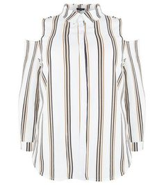 Curves White Stripe Print Cold Shoulder Shirt | New Look