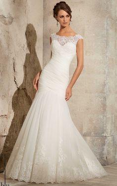 robe de mariée sirène en tulle et dentelle