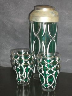 Unusual green & white patterned cocktail shaker.