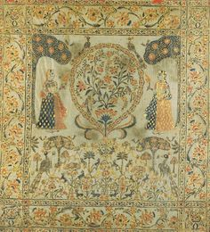 A Wall Hanging India, 19th Century Painted and highlighted in gold with two maidens flanking a central florette, all above a stylized garden scene with peacocks interspersed among flowering trees, bordered by floral scrolls 44¾ x 49 in. (113.6 x 124.4 cm.)