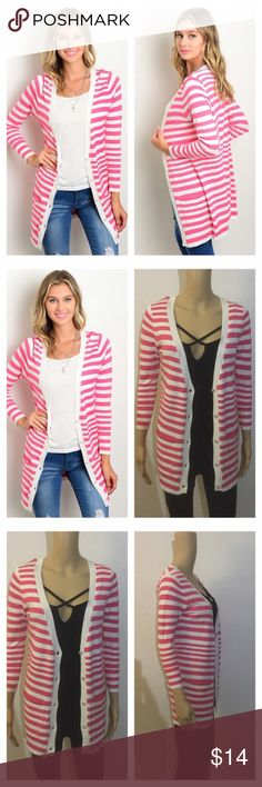 NWT (last one) small pink & white striped cardigan ****PRICE FIRM NO TRADES****  This longline striped knit cardigan features a solid contrasted button placket.  100% Rayon  Item is brand new with tags in the package.  Color: Pink and White Striped   ****PRICE FIRM NO TRADES**** ****PRICE FIRM NO TRADES**** ****PRICE FIRM NO TRADES**** Sweaters Cardigans