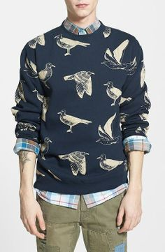 Obey 'Seagull' Print Crewneck Sweatshirt available at Men's Fashion, Fashion Prints, Fashion Outfits, Fasion, Stylish Men, Men Casual, Men Street, Mens Sweatshirts, Aesthetic Clothes