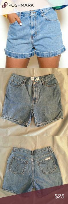 Vintage Calvin Klein high waisted jean shorts Calvin Klein high waisted jean shorts in GUC no snags piling stains tears or pulls Calvin Klein Jeans Shorts Jean Shorts