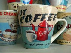 Vintage coffee mugs... I want these too!! www.myjavita.com/PaigesCoffeeNW