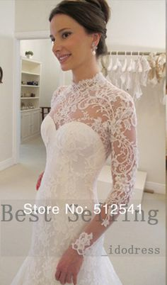 Top Long Sleeves Lace Wedding Dresses Mermaid High Neck Satin Open Back Applique Sweep Train