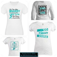 Go teal for Ovarian Cancer awareness with cool shirts to wear for this cause at www.gifts4awareness.com. #ovariancancer #cancerawareness