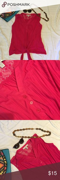 Tie front sleeveless Henley shirt Hot pink. Lace on shoulders. Three button Henley closure. Tie front. EUC. Necklace and purse available from my closet too!  Make an offer!! 30% off bundles of two or more items!! French Laundry Tops