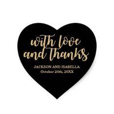 Custom Black Heart Wedding Sticker with Gold Text - gold wedding gifts customize marriage diy unique golden Purple And Gold Wedding, Purple Gold, Wedding Thank You Gifts, Black And White Heart, Wedding Stickers, Gold Gifts, Bridal Gifts, Wedding Pins, Diy Wedding