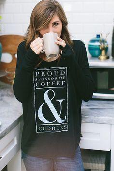 proud sponsor of coffee & cuddles black tee