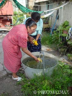 Rinsing Squash Blooms, Venustiano carranza, Tamaulipas, Mexico