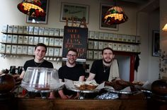 The Quilliam brothers in their tea-shop in Newcastle, l/r Sam, Patrick and Tom