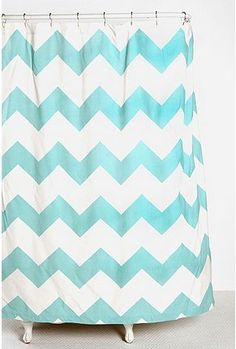 Chevron shower curtain - EXACTLY what I want for the kid's bathroom, NOT for $44 though! Thinking about making my own from a Home Depot drop cloth and fabric spray paint....