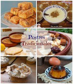 6 Postres Tradicionales Españoles ---> Flan de Huevo, Bizcochada Manchega, Arroz con Leche, Almendrados, Gachas Dulces y Leche Frita