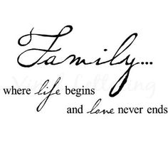 """Amazon.com: Family where life begins and love never ends 12.5"""" h x 23"""" w vinyl lettering wall sayings art decor decal sticker word: Home & Kitchen"""