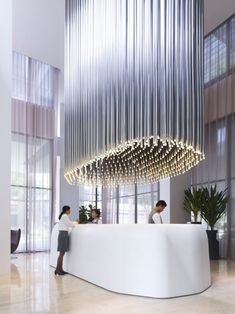 lighting fixture, absolutely stunning. Studio M Hotel reception area in Singapore