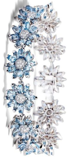 Created by the Asprey craftsmen, the Daisy Heritage Bracelet has been individually set with marquise cut aquamarine petals and a pavé diamond centre, set in white gold. -- 20 Gorgeous Aquamarines - Must See- Style Estate - something blue Aquamarine Jewelry, Diamond Jewelry, Diamond Bracelets, Bangle Bracelets, Bangles, Daisy Bracelet, Ring Armband, My Birthstone, Aqua Marine