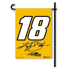 """#18 Kyle Busch 2013 Two Sided Garden Flags 13"""" X 17"""" W/Pole #11213 Product ID: 18113 $26.00 For More Great #18 Kyle Busch Merchandise Please Visit Us @ http://store.nascarshopping.net  Find us On Facebook @ www.Facebook.com/nascarshopping.net Follow us on Twitter @NascarShopping .Net    #JoeGibbsRacing  #18kylebush #NASCAR #nascarfans  #flags  #nascargear"""