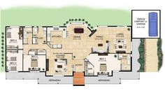 Hi there! Today I have a floor plan suited for those who have acreage. My family would LOVE acreage! One day maybe… Click on the image to enlarge it so you can see it better, or go here for a few variations on the plan. I'm in love what the front verandah and the kitchen …