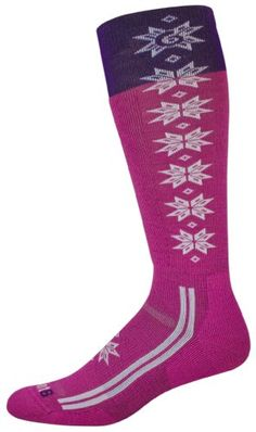 point6 Women's Ski/Christie Light ''Over The Calf'' Socks, Lipstick/White, Small Made by #point6 Color #Lipstick/White. Cushion on shin and under foot. Insulated toe box. Special cushioned Achilles pad holds heel down in boot and enhances fit